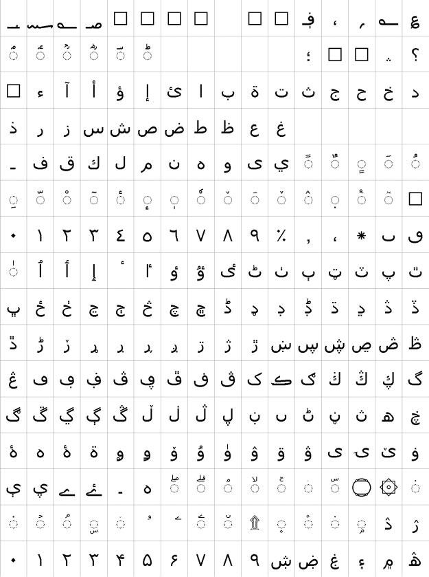 Tahoma Urdu Font